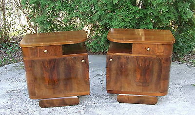 Pair of Art Deco Bedside Cabinets, Nightstands. Walnut Tables Antique Vintage.