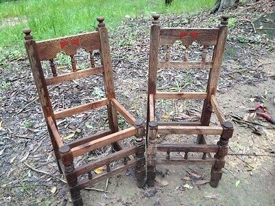 Antique dining chairs, gothic medieval, hand carved. Original for restoration