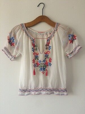 Vtg Antique 30s Hungarian Embroidered Floral Blouse Top