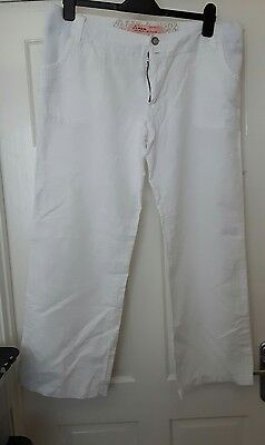 white linen maternity trousers new look size 12 under bump