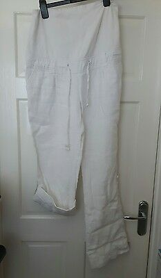 white linen maternity trousers size 12 over bump
