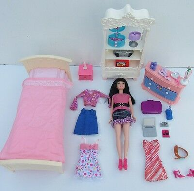 Mattel BARBIE DOLL - Bedroom Furniture, Clothes & Accessories Set with Brunette