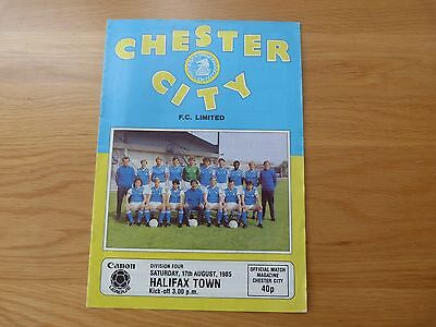 Chester City v  Halifax Town Football Programme 1985-86