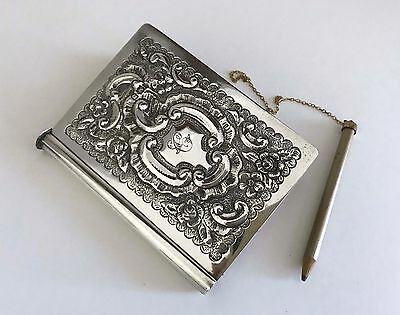 Antique c.1902 English Sterling Silver Pocket Notebook Floral Repousse LOVELY!