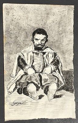 GOYA -Drawing with ink - on paper  original of 1800 - with watermark