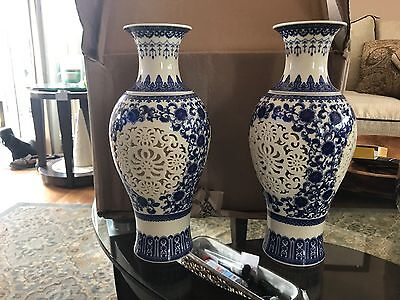 Pair of  2 pieces Hollow Chinese White & Blue Porcelain Big Vase W Qianlong Mark