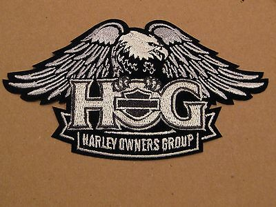 """Harley Owners Group Large Silver Eagle Patch 11"""" X 6"""" """"ships International"""""""