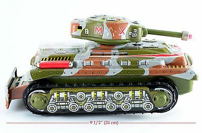 Tin Litho Toy Army Tank Nomura Japan Battery Operated MX Tank Clean