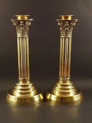Pair Of Antique Neo Classical Design ~ Brass Campaign Candlesticks
