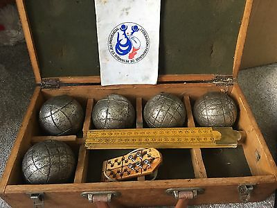 Wooden Box And Various Sets Of Obut Boules