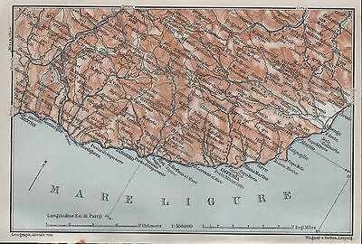 1930 Baedeker Old Map-Riviera-Coast, Menton To Albenga