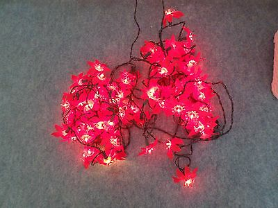 2 Sets Of 40 Red Poinsettia Led Lights String Christmas Fairy