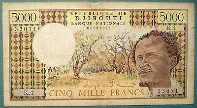 DJIBOUTI 5000 5 000 FRANCS NOTE FROM 1979,  P 38 a, NO SIGNATURE ISSUE