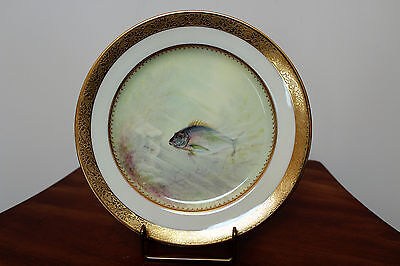 Rare Vintage Tiffany By Lenox Porcelain Gold Porgy Fish Plate Signed E A Delan