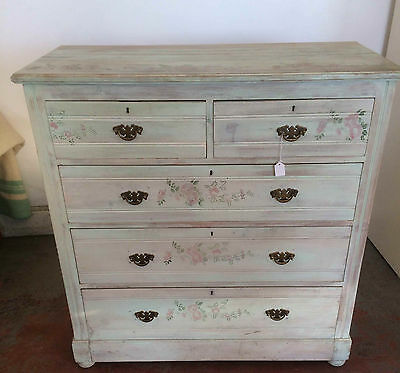 Edwardian Satin Wood Shabby Chic Chest Of Drawers