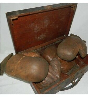 2 Sets Of Vintage Boxing Gloves And Wooden Case