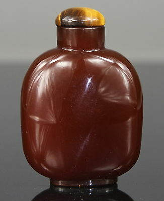 Antique Chinese Peking Glass Amber Design Snuff Bottle 19th C. Qing