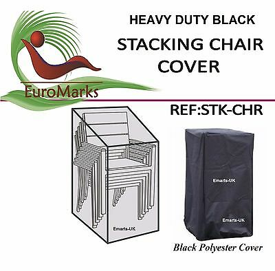 Strong Stacking Chairs Cover Garden Black Waterproof Stacking Chair Cover (New)