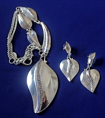 Chico's Silver Necklace and Earrings Set