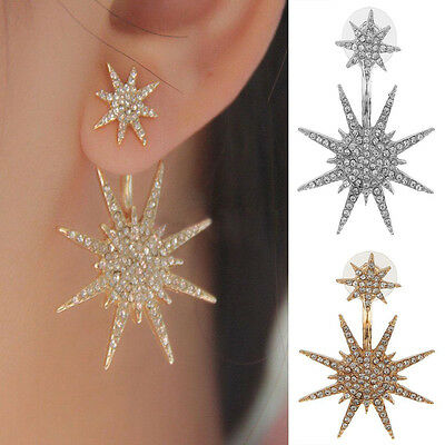 1x Women Crystal Rhinestone Dangle Gold/Silver Star Ear Stud Earring Jewelry &H