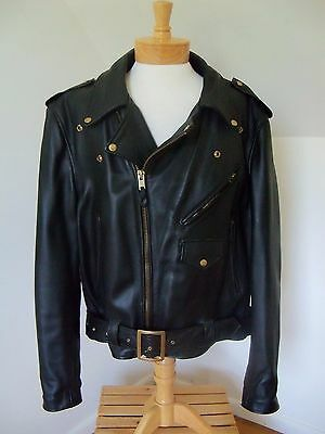 Vintage Branded Leather Motorcycle Biker Jacket Perfecto Size 50 XXL Made in USA