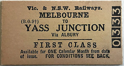 VR & NSW Railways Ticket - MELBOURNE to Yass Junction 1st Class Single