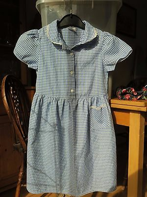 Royal Blue Gingham School Summer Dress Age 7-8 Yrs By Ladybird