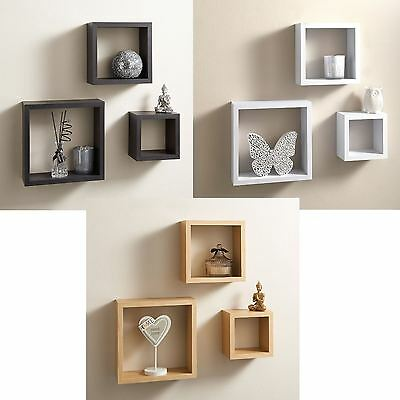 Set Of 3 Cube Floating Wall Mounted Shelves Cd Dvd Book Storage Display Shelf