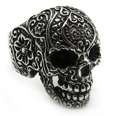 5Biker Mens LADIES HEAVY STEEL SUGAR SKULL RING Knuckle Duster Wedding Signet P