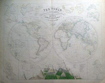THE WORLD IN HEMISPHERES + Mountains & Rivers Chart, Fullarton antique map c1860