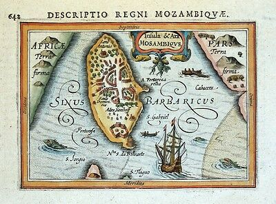 MOZAMBIQUE ISLAND, INSULA & ARX, MOSAMBIQUE AFRICA, BERTIUS antique map 1618