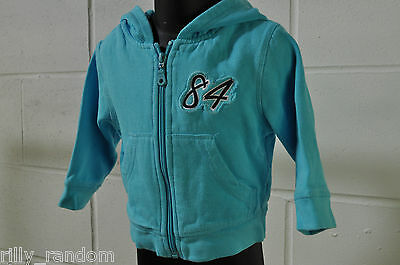 Baby Boys Blue Zip Front Hoodie Jumper For Age 6-9 Months