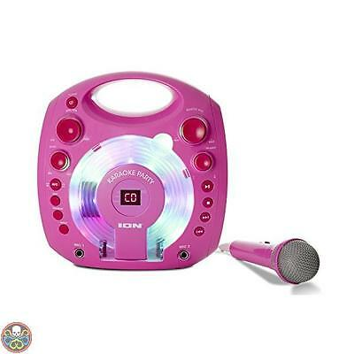 Ion Audio Rosa Karaoke Party Impianto Karaoke Portatile Con Luci Led Nuovo