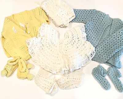 Vintage Handmade Crocheted Baby Sweater Hat Booties Set OR Doll Clothes ~ 3 Sets