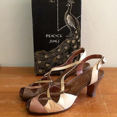 Peacock Shoes Vintage 50s Womens 8 Leather Strappy Peek Toe Heels