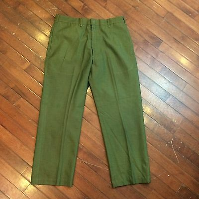 Farah Iridescent Green Sharkskin Boys 32 x 26 Vintage 60s Flat Front Dress Pants