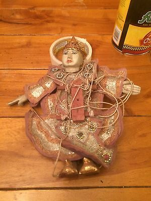 TRADITIONAL JAPANESE ANTIQUE DOLL VINTAGE wood , leather fabric, SEQUENCE