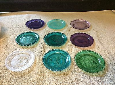 Vintage Pairpoint Cup Plate Collection Green Purple Clear some tiny chips