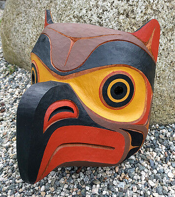 Northwest Coast BC Canada First Nations Indigenous Art Cedar OWL Mask Carving