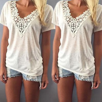 Women Summer Casual Short Sleeve Lace Tank Top V Neck Vest Blouse T-Shirt