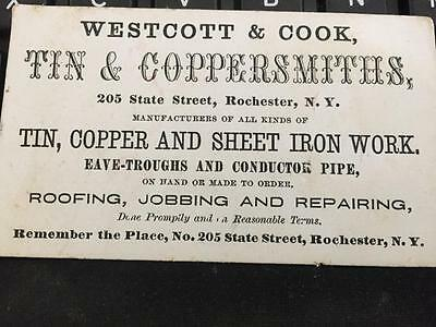 Westcott & Cook Tin Coppersmiths Rochester NY Business Card