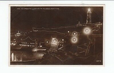 Postcard. Plymouth Lido with Floodlighting. Real Photo.