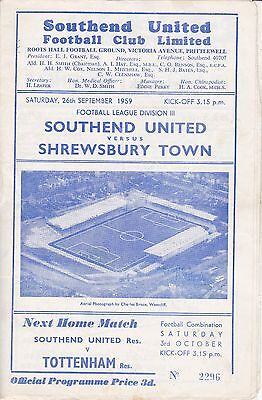 Southend United v Shrewsbury Town,  Division 3, 26/9/1959