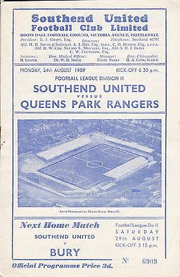 Southend United v Queens Park Rangers,  Division 3, 24/8/1959