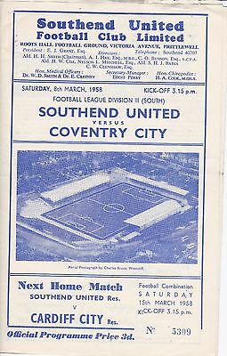 Southend United v Coventry City,  Division 3 South,  8/3/1958