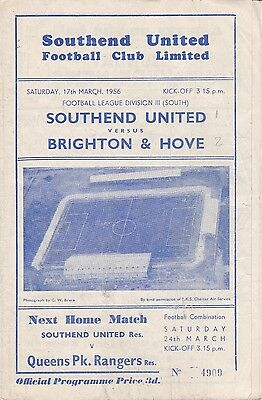 Southend United v Brighton & Hove Albion,  Division 3 South,  17/3/1956