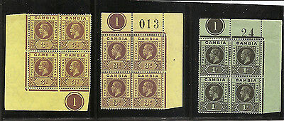 GAMBIA 1912 values in plate blocks of 4 unmounted mint