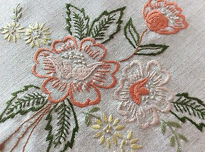 Pretty Vintage Linen Hand Embroidered Antimacassar ~ Lovely Florals
