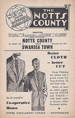 Notts County v Swansea Town, Division 2,  17/11/1956