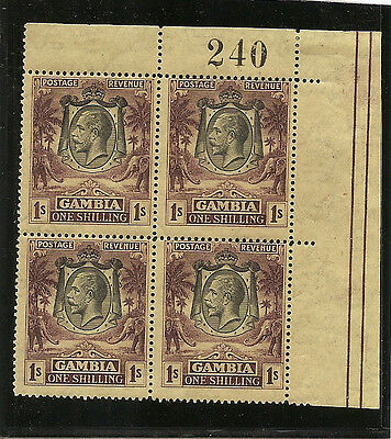 GAMBIA  1924  1s  SG134 unmounted mint block of 4